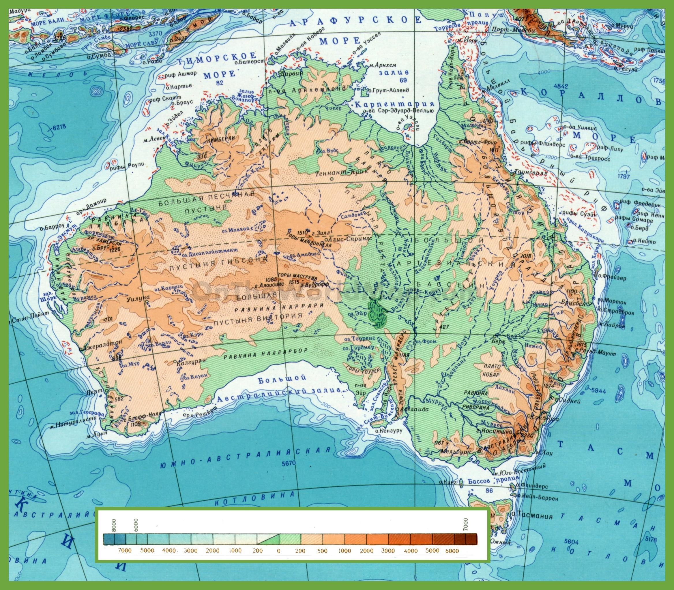 mapa da austrlia com montanhas