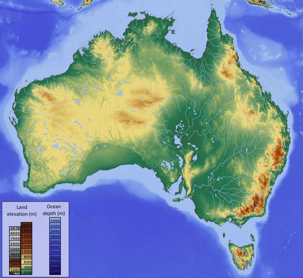 altitude mapa da austrlia