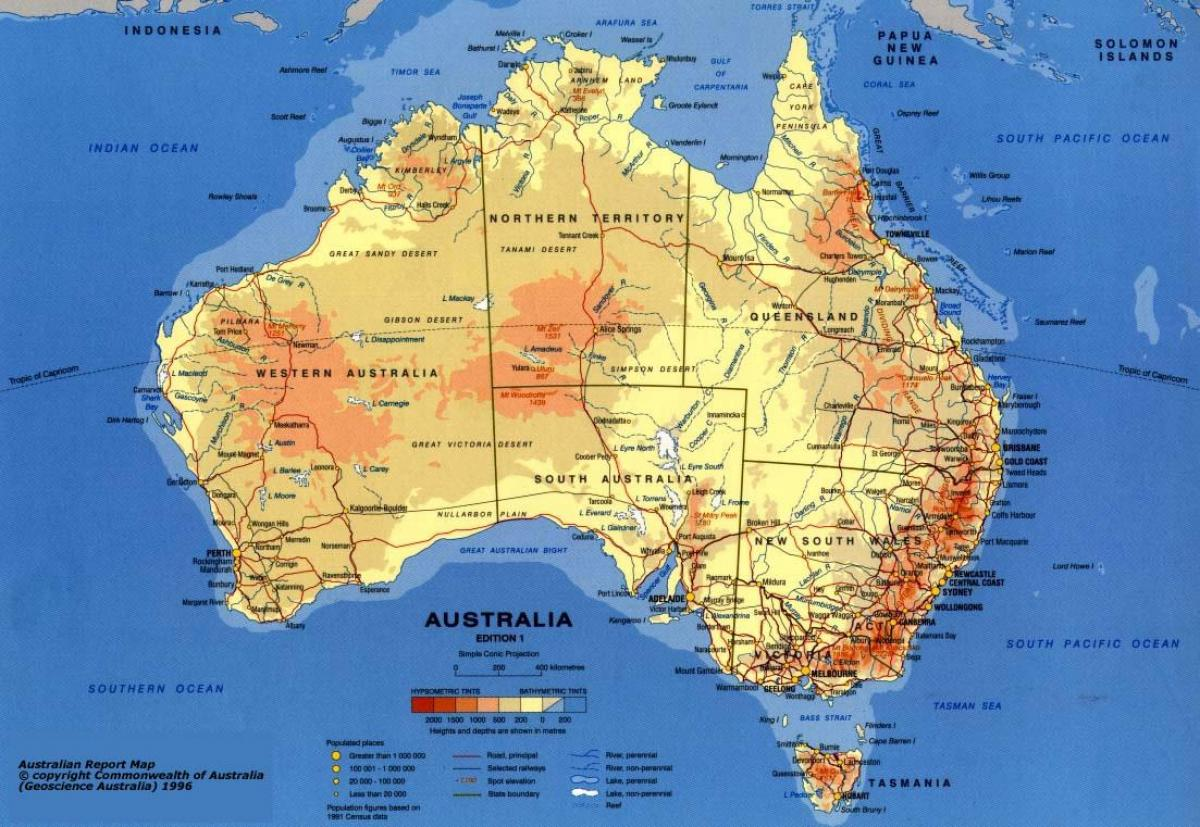 mapa da austrlia com escala de