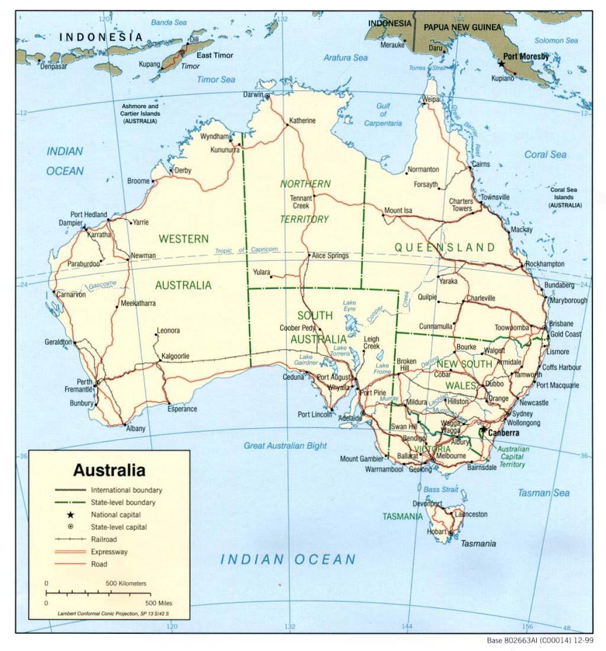 mapa da austrlia oceanos