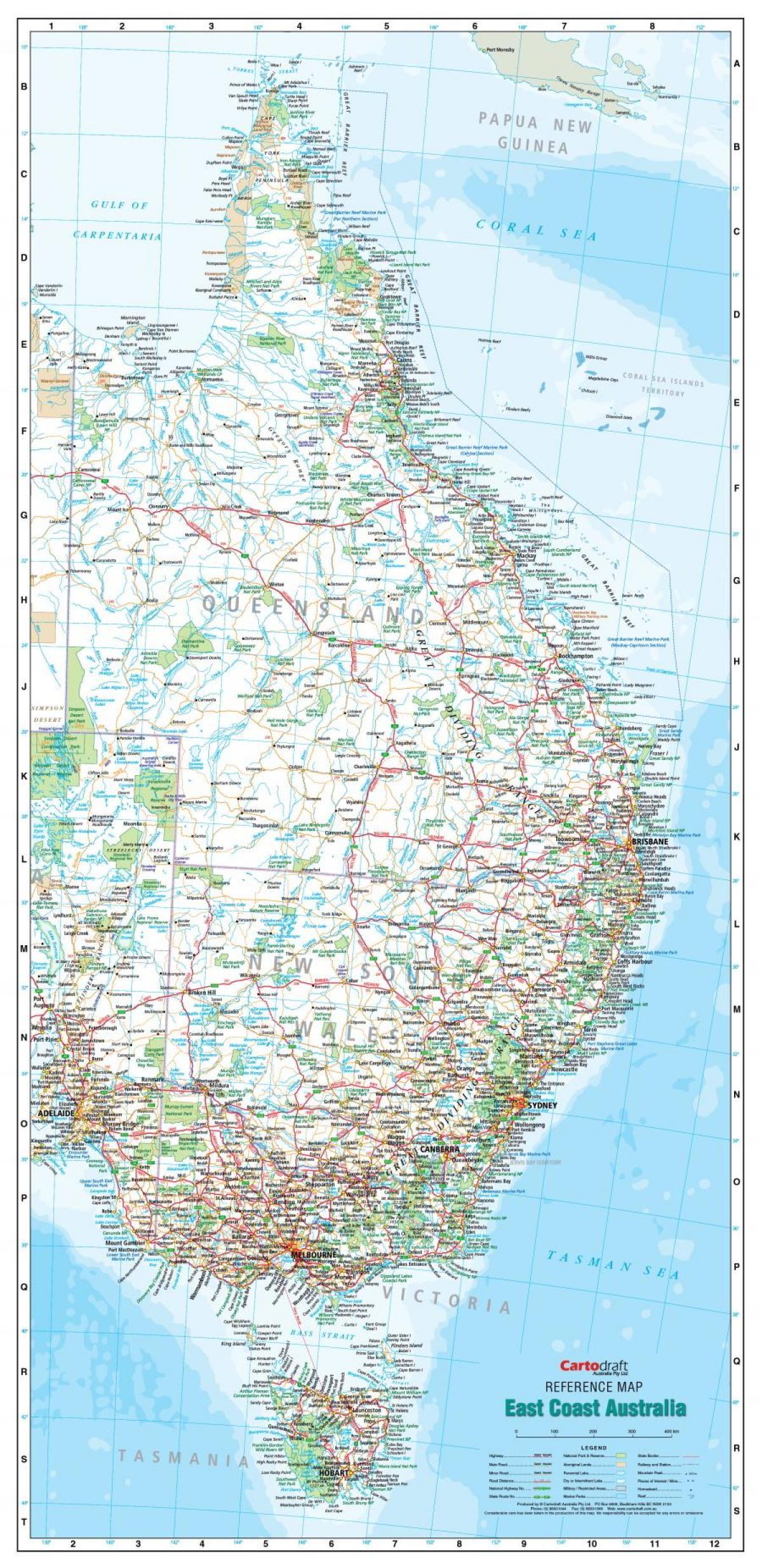 mapa da costa leste da austrlia